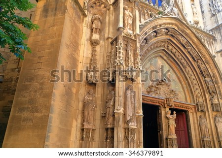 Detail of Gothic architecture on the facade of a church in Aix-en-Provence, France