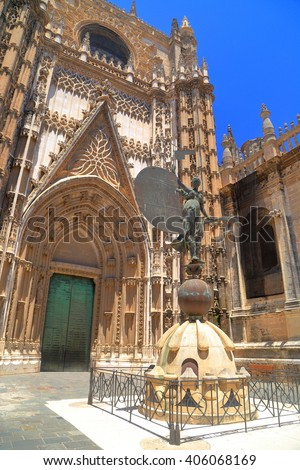 Detail of Gothic building of the Cathedral of Saint Mary of the See (Seville Cathedral) in sunny day, Seville, Andalusia, Spain - stock photo