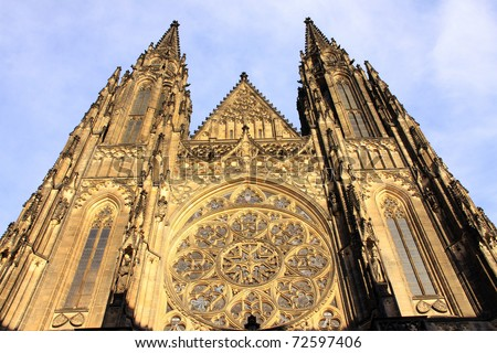 Detail of gothic St. Vitus Cathedral in Prague - stock photo