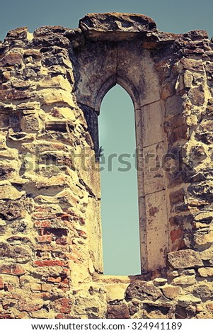 detail of gothic window on old monastery remainings