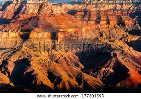 Detail of Grand Canyon rock fomation at colorful sunrise, Arizona, USA - stock photo