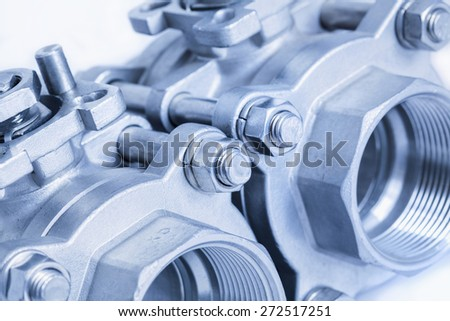 Detail of group 2 valves located on the diagonal, ball valve with selective focus on thread fittings - stock photo