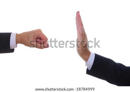 Detail of hand making different gestures isolated on white - stock photo
