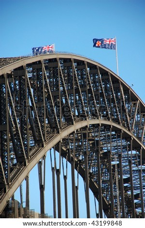 Detail of Harbour Bridge in Sydney, Australia with Australian flags - stock photo