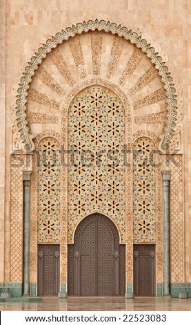 Detail of Hassan II Mosque in Casablanca Morocco - stock photo
