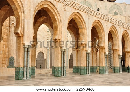 Detail of Hassan II Mosque in Casablanca, Morocco - stock photo