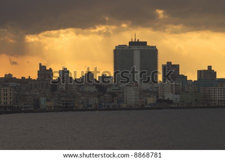 Detail of Havana bay skyline at sunset - stock photo