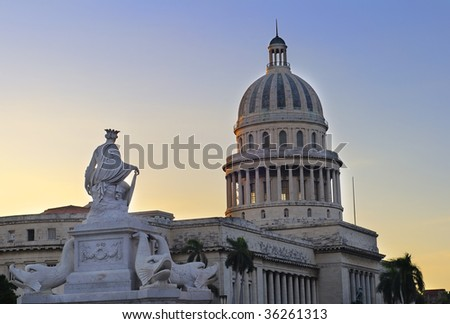 Detail of Havana capitol dome and fountain at sunset