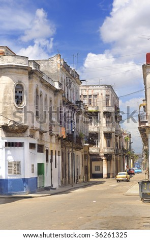 Detail of havana cityscape with crumbling buildings - stock photo