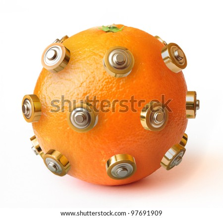 Detail of healthy energy orange isolated on white background