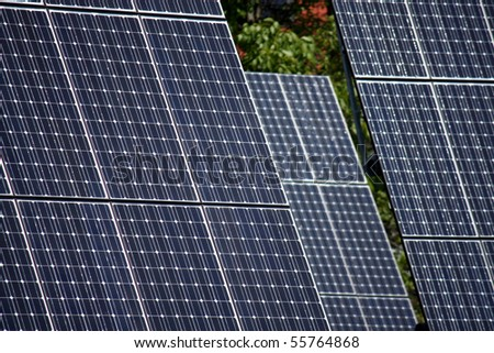 detail of high technology PV solar panels - stock photo