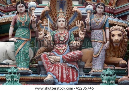 Detail of Hindu temple in little India Singapore - stock photo