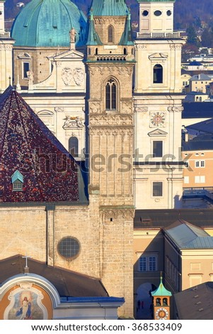 Detail of historical church buildings with different architecture, Salzburg, Austria - stock photo
