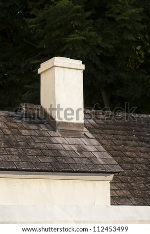 Detail of house with chimney.  St. Augustine, FL, USA. - stock photo