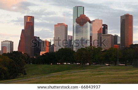 Detail of Houston Skyline - stock photo