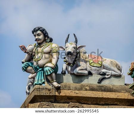 Detail  of indian Kapaleeswarar temple , Chennai, India - stock photo