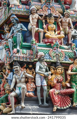 Detail of indian temple in singapore - stock photo