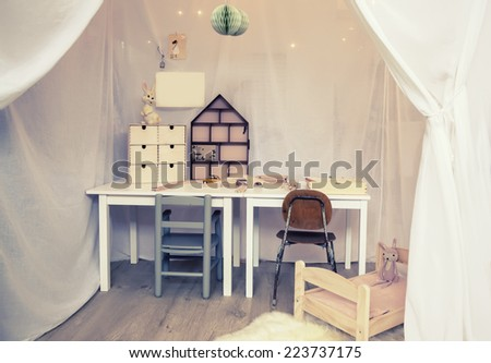 detail of interior in child room  - stock photo