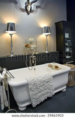 detail of interior of classic  bathroom - stock photo