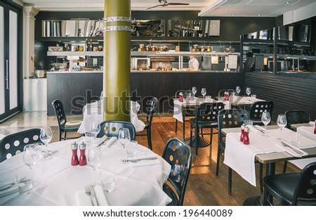 detail of interior of Italian restaurant  - stock photo