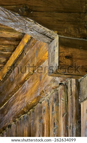 Detail of interior of old (nineteenth century) wooden house. Russia - stock photo