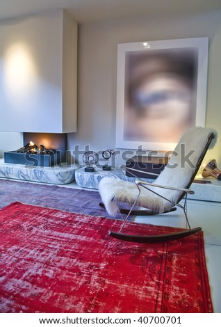 detail of interior with lounge chair - stock photo
