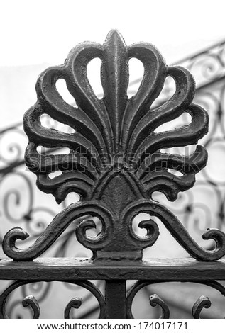 Detail of ironwork on fence in French Quarter, New Orleans. - stock photo