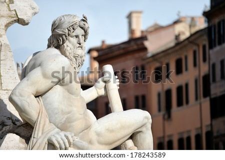 Detail of Italy Rome Navona square 4 rivers fountain  - stock photo