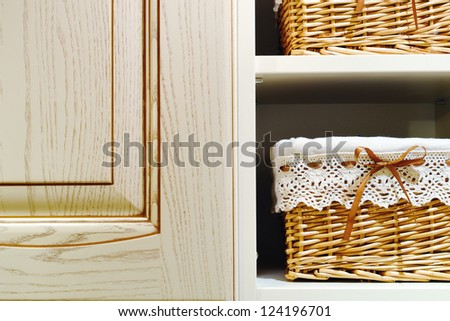 detail of kitchen cabinets and carts for bakery - stock photo