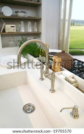 detail of kitchen interior with window - stock photo