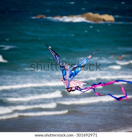 Detail of kite flying on the Sardinero beach in Santander (Cantabria) - stock photo