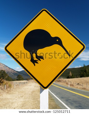 Detail of kiwi roadsign, New Zealand