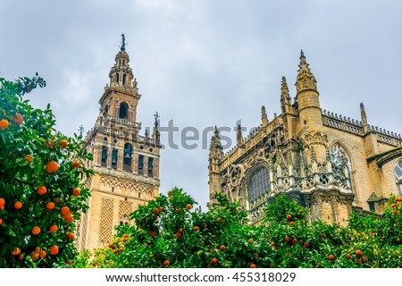 detail of la giralda tower in the spanish city sevilla - stock photo