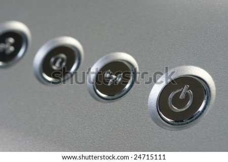 detail of laptop power button