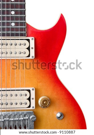 Detail of Les-Paul style guitar with sun-burst paintwork