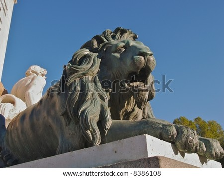 Detail of lion sculpture at palace in Madrid Spain - stock photo