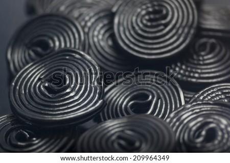 Detail of Liquorice snails - stock photo
