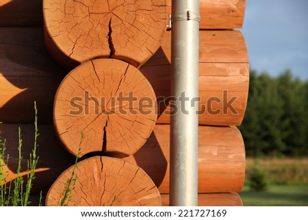detail of log cabin - stock photo