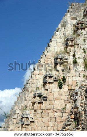 Detail of long stair of the pyramid in archaeological site of Uxmal, Mexico