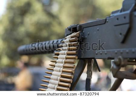 Detail of Machine Gun, World War II style - stock photo
