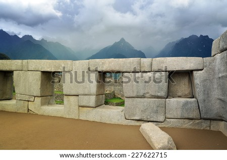 Detail of Machu Picchu lost city of Inkas, archeological site - stock photo