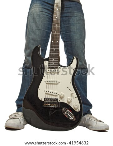 detail of man and his rock black guitar isolated on white - stock photo