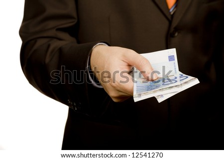 detail of man hand with money, euro notes - stock photo