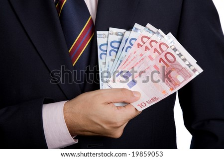 detail of man hands with money, euro notes - stock photo