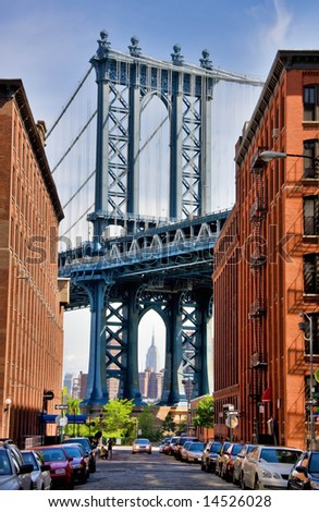 detail of Manhattan Bridge from a Brooklyn street in the neighborhood known as DUMBO