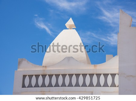 Detail of Masjid Aqeel Mosque in Salalah, Oman. The mosque was originally built in 1779, making it one of the oldest mosques in Salalah. - stock photo