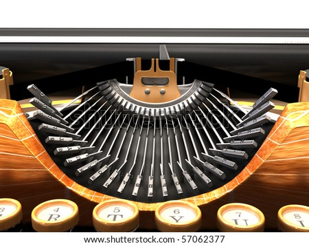 Detail of mechanical typewriter. steam punk style. - stock photo