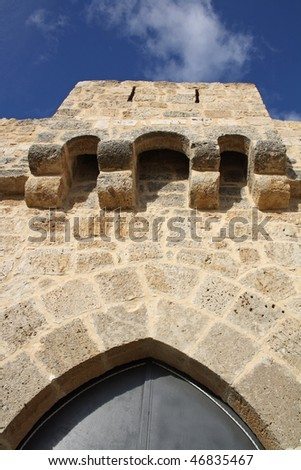 detail of medieval castle entry