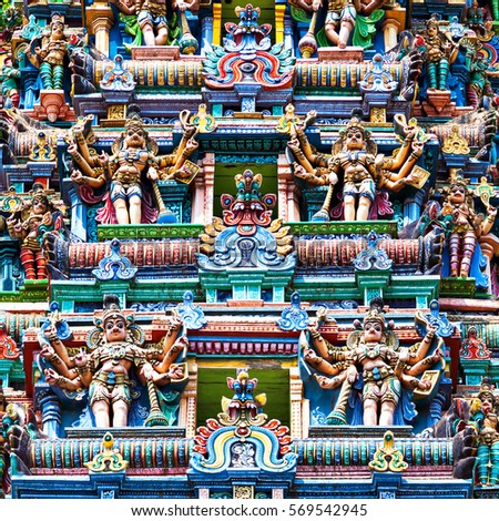 Detail of Meenakshi Temple in Madurai, India