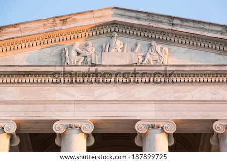 Detail of meeting and drafting of constitution on front of Jefferson Memorial in Washington DC - stock photo